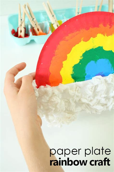 pom pom painted rainbow craft for fantastic 420 | Pom Pom Painted Paper Plate Rainbow Craft for Kids Fun spring art activity for kids rainbow kidscrafts preschool kindergarten