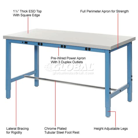 square white trundle adjustable height work bench with electric adjustable height 96 quot w x 30 quot d