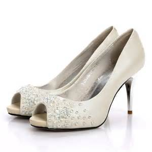 wedding shoes white stiletto heel rhinestone peep toes white wedding shoes flowerweddingshoes