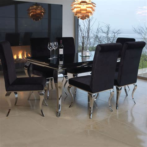 louis black glass and 200cm steel dining table and 6 chairs