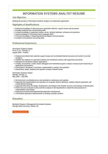 information systems analyst resume sle best format