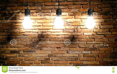 3d rendering light bulbs on brick wall background stock