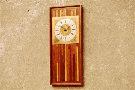 wood rectangular butcher block wall clock   mikes