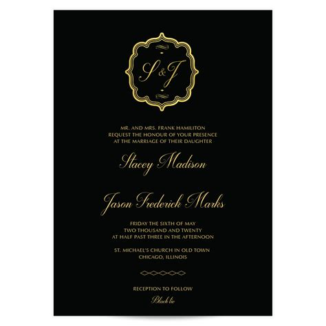 Waldorf Black and Gold Wedding Invitations Pixie Paper Co