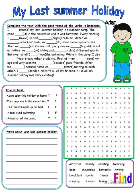 My last summer Holiday - English ESL Worksheets for ...