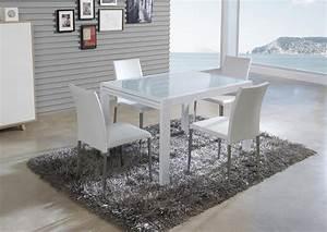 Acheter votre table en verre avec allonge laquee blanche for Salle À manger contemporaine avec recherche salle a manger