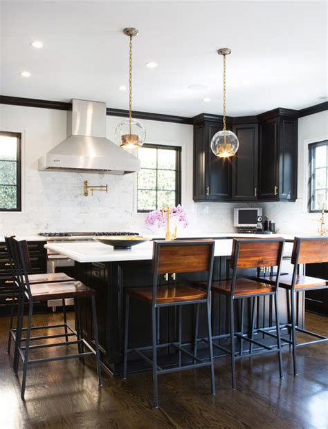 target bar stools kitchen transitional with black cabinets