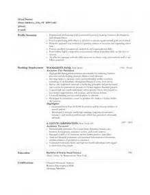 strong resume summary statements for banking resume