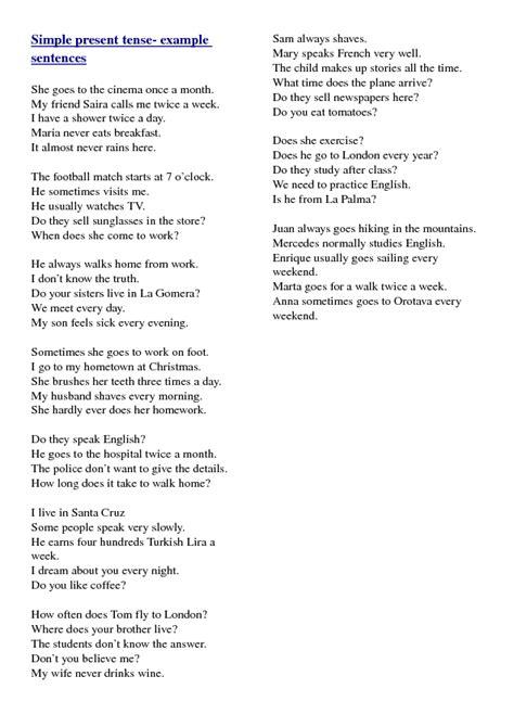 Simple Present Sentences