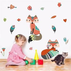Cute, Woodland, Fox, Wall, Decal, Sleepy, Fox, Wall, Sticker, For, Kids, Room, Nursery, Wall, Art, Decor