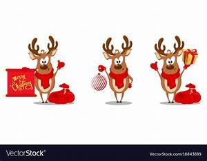 Merry, Christmas, Greeting, Card, With, Funny, Reindeer, Vector, Image
