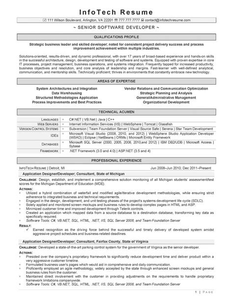 Senior Software Developer Resume Exles by It Resume Sles Infotechresume