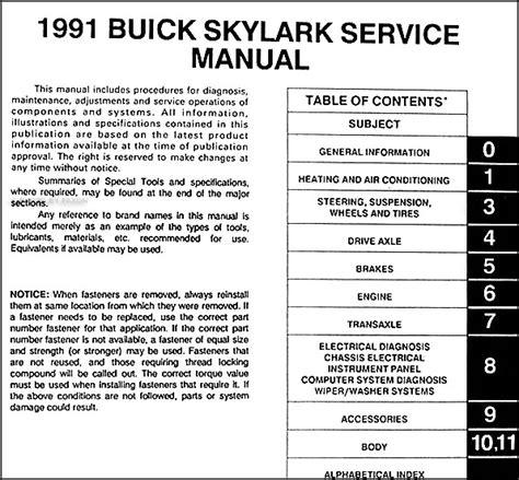 manual repair autos 1991 buick skylark transmission control 1991 buick skylark repair shop manual original