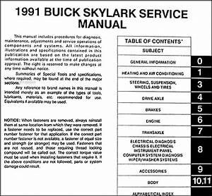 1991 Buick Skylark Repair Shop Manual Original
