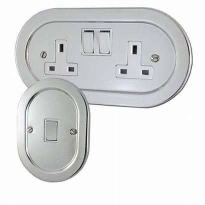 Chrome Sockets Polished Plug Oval Switches Clipart