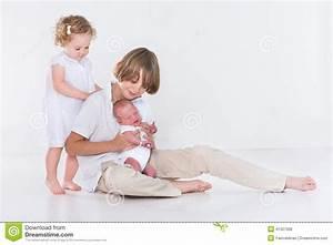 Studio Portrait Of Three Kids With White Clothes Stock ...