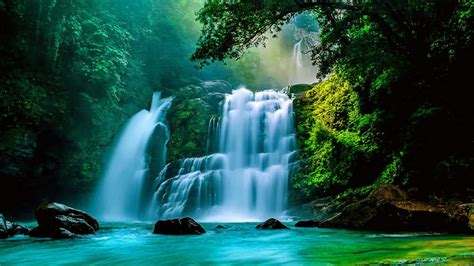 tropical waterfall wallpaper  background image