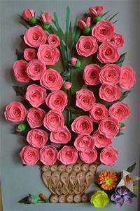 paper quilling rose wall art ~ crafts and arts ideas