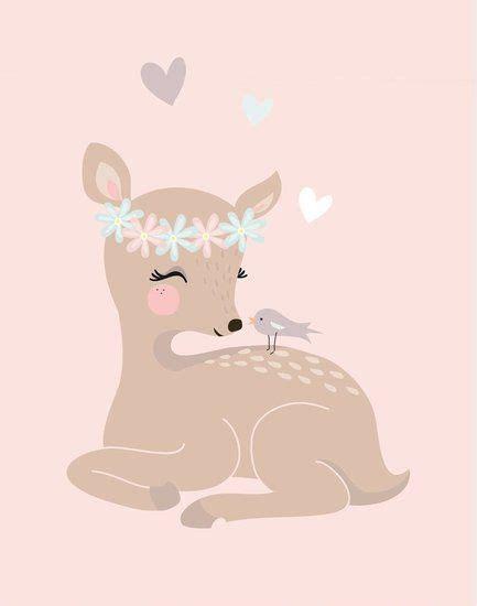 mimirella poster klein hertje roze en