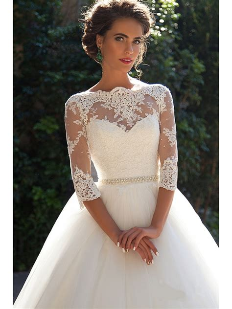 Ball Gown 34 Sleeves Lace Wedding Dresses Bridal Gowns