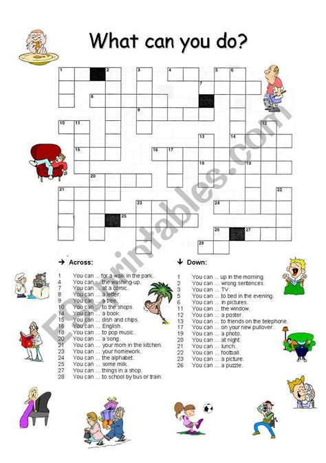 English Worksheets Crossword  What Can You Do?