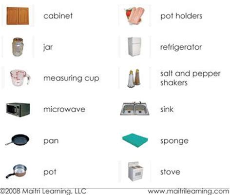 Kitchen Items Vocab by 39 Best Kitchen Vocabulary Images On