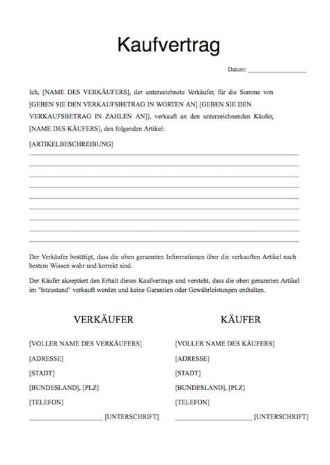 Kaufvertrag Ohne Unterschrift kostenloses kaufvertrag vorlage kaufvertrag vorlage