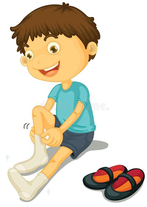 boy putting on shoes clipart boy and shoes stock illustration illustration of