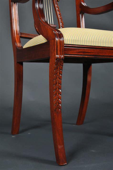 lyre  dining room chairs solid mahogany schmieg