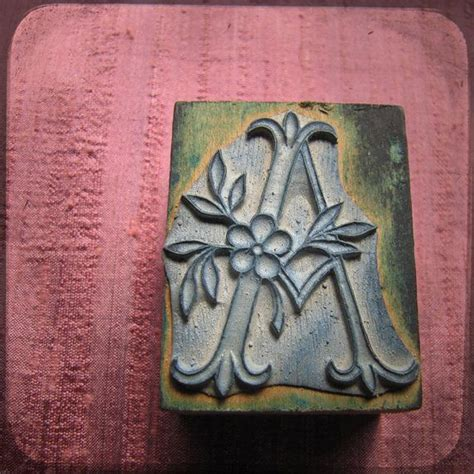 antique french embroidery block rubber stamp letter   flowers printing monogram letter