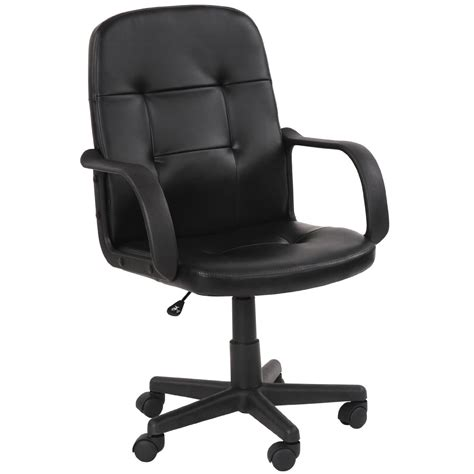 Furniture Black Leather Swivel And Adjustable Chair With by Miadomodo Office Swivel Chair Black Ergonomic Height