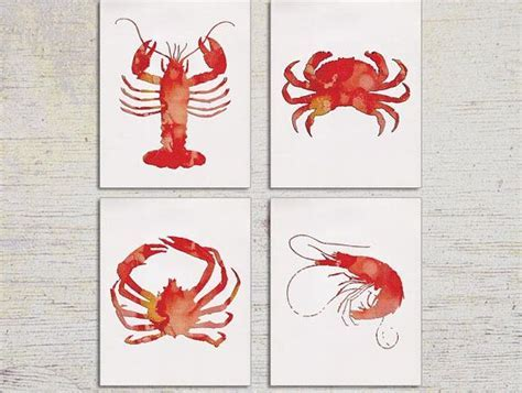Kitchen Art, Kitchen Decor, Lobster Print, Shrimp Wall Art