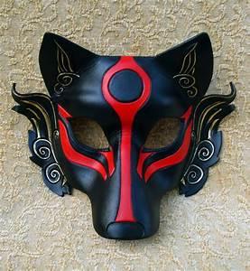 Black Okami leather mask ...handmade Japanese wolf mask in