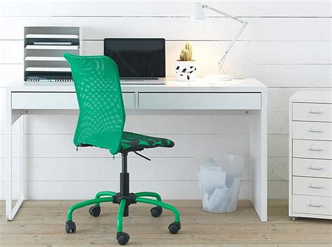 white ikea micke computer workstation desk with a green