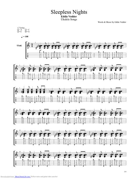 eddie vedder no ceiling tab sleepless nights guitar pro tab by eddie vedder