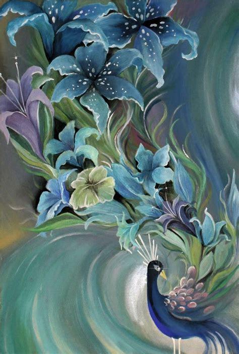 beauty blau pfau blumen malerei von anja kraus