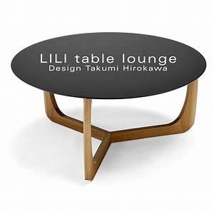 Table Basse Noire Ronde : table basse ronde lounge lili pi tement ch ne massif plateau stratifi ~ Teatrodelosmanantiales.com Idées de Décoration