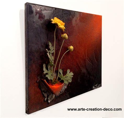 chambre couleur marron tableau floral peinture décoration murale fleur en 3d