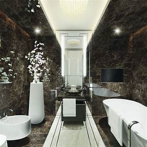 Small Luxury Modern Bathroom Design With Black And White ...