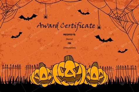 halloween award certificates  printables  microsoft