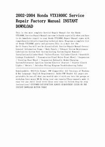 2002 2004 Honda Vtx1800 C Service Repair Factory Manual