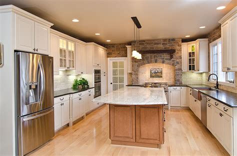 kitchen island countertop overhang antique brown leather and river valley granite4 bedrock 5032