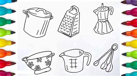 coloring  kitchen utensils painting  toddlers