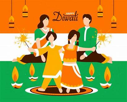 Diwali Indian Celebrating Vector India Illustration Festival