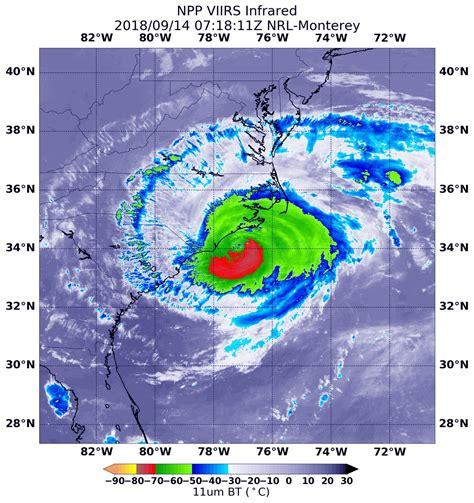 nasa noaa satellite sees land falling hurricane florence