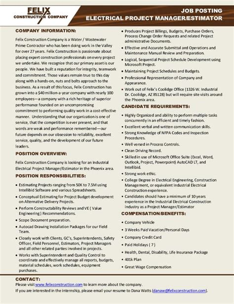 resume for construction estimator