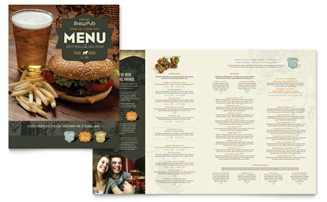 Menu Brochure Template Word by Brewery Brew Pub Menu Template Word Publisher