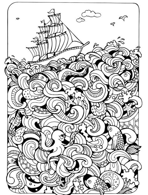 ocean themed adult coloring book 75 best free colouring pages sea theme images on