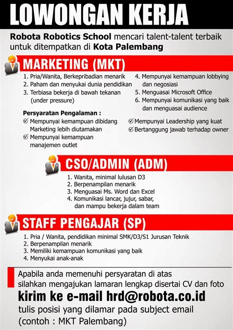 loker palembang admin cso marketing  staff pengajar