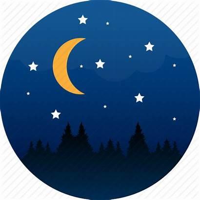 Night Moon Icon Stars Midnight Camping Icons